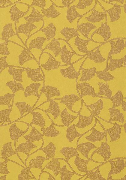 Ginkgo Wallpaper In Citron From The Artisan Collection Thibaut Artisan Collection