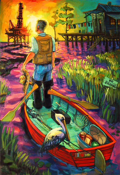 Crude Awakening by Terrance Osborne   ....... My approach was to create an image that relates to how most people feel about the oil spill. The guy is in a state of awe at what he sees and is restricted in his access to do what he loves to do… Fish his heart out! All of us feel a sense of restriction and loss of some sort about this catastrophe.