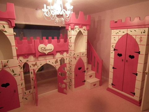 Elaborate princess castle bed with slide and stairs and