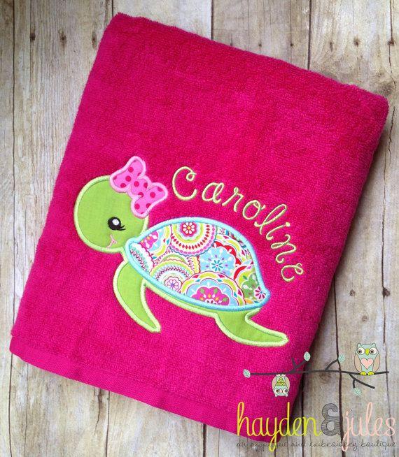 Monogrammed Beach Towel Girl Turtle Applique by HaydenandJules