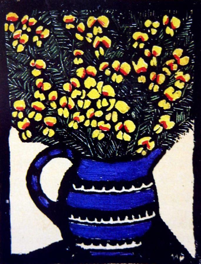 Dillwynia, 1925 Hand-coloured woodblock print, 18.5 x 14 cm by Margaret Rose (MacPherson) Preston (1875-1963) Australia