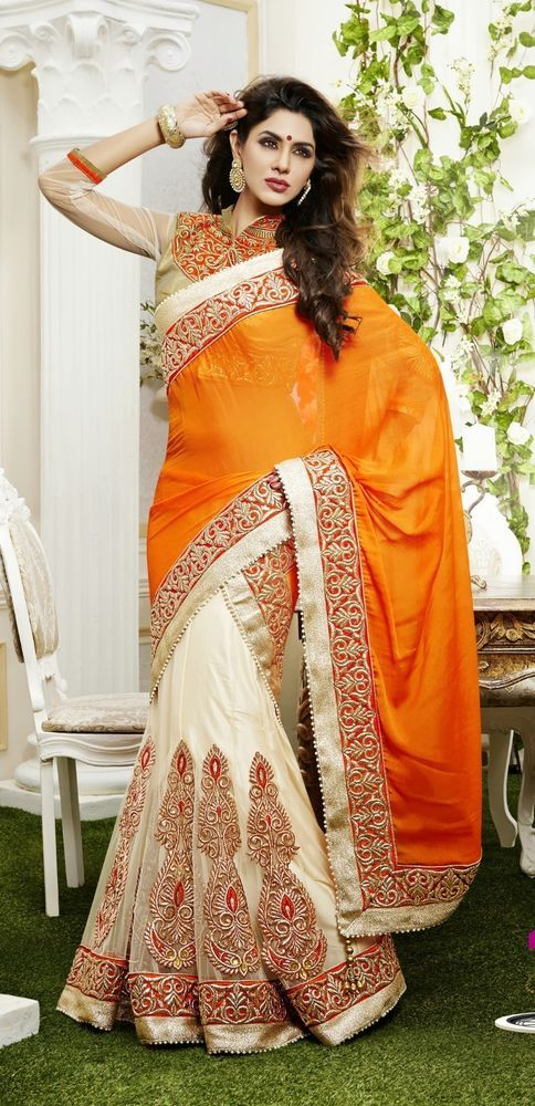 Stylist Sari Lehenga Saree Partywear Indian Designer Bridal Wedding Ethnic 107 #SalwarSuits #OneMinuteLehngaSari