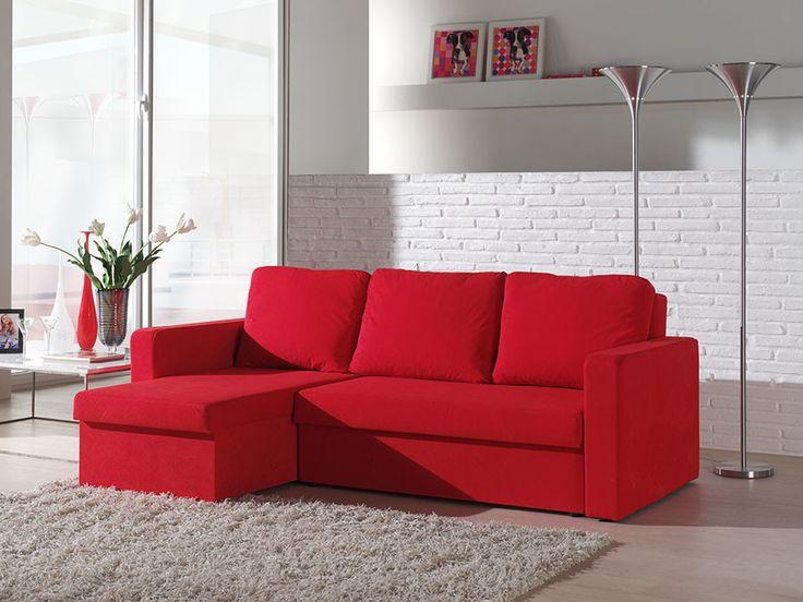 Canapé d'angle convertible en microfibre rouge FIBU, avec coffre de rangement. 389.99€ sur hcommehome.com