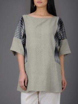 Grey-Ivory Ikat Dolman Sleeve Khadi Cotton Tunic
