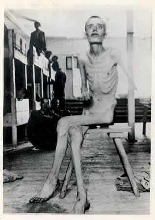 1945 Dachau Concentration Camp inmate after liberation.