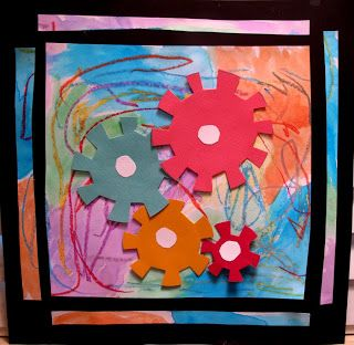 Gears! Crayon and paint background. Cogs are circles with an EVEN nr of cuts along the edge. Fold every other slip back to make cog wheels. IDEA: Wonder if making the cogs from cardboard would make them strong enough to move each other? Use a brad and really let the cogs turn!