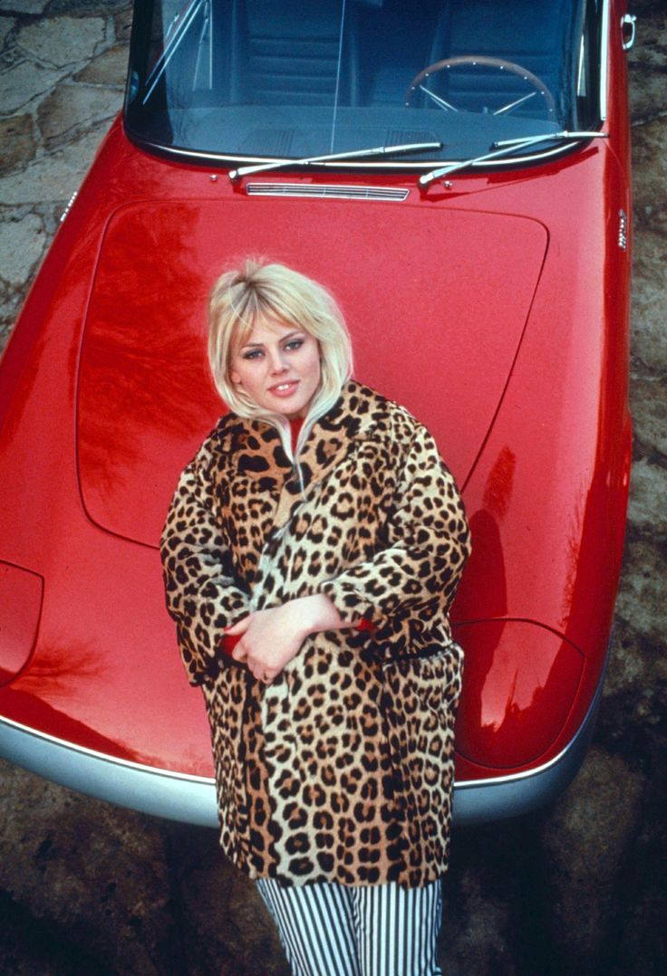Britt Ekland leopard print coat