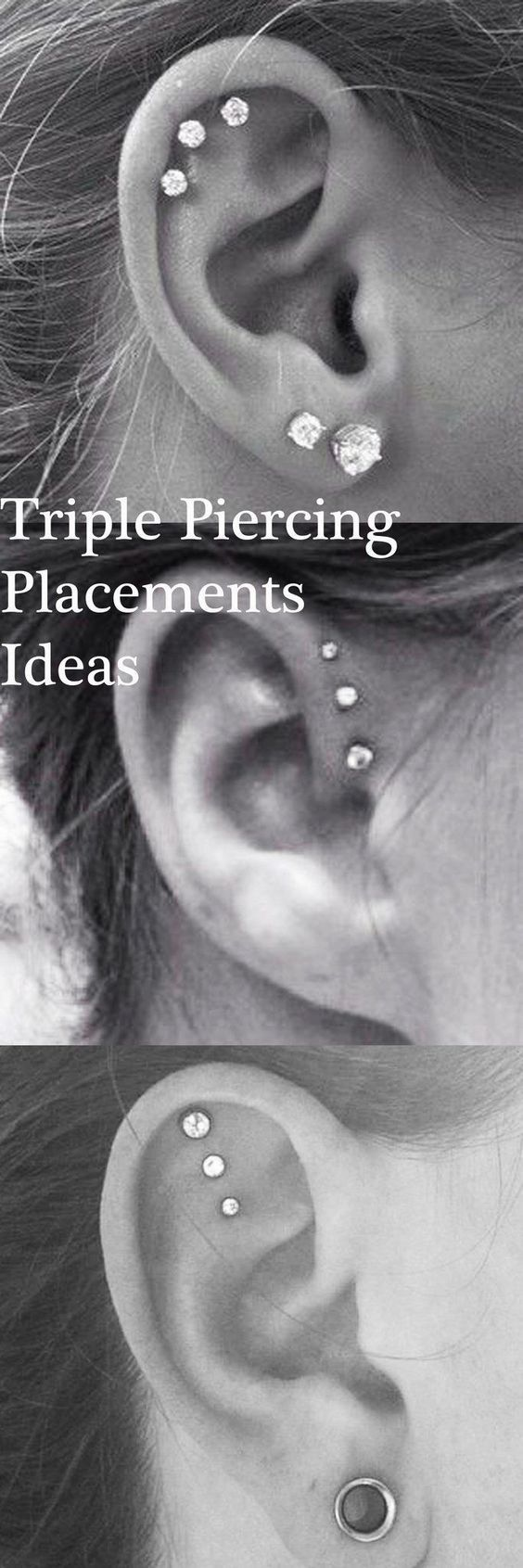 Cute Ear Piercing Id Cute Ear Piercing Ideas at MyBodiArt.com - Triple Forward Helix Earrings - Triple Cartilage Constellation Studs