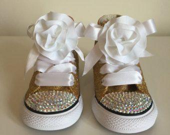Escarcha oro adulto Rhinestone zapatos Converse Converse de