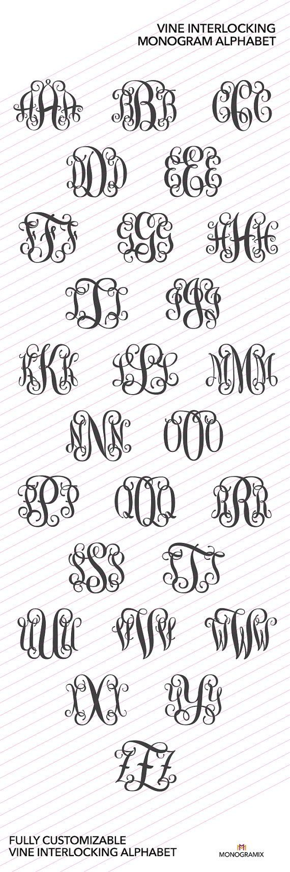 MONOGRAM ALPHABET: Vine Interlocking Monogram Alphabet.  Includes the following file formats: .studio3, .studio, .svg, .dxf, .eps and .ai.  With this