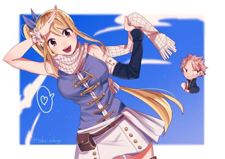Lucy Heartfilia with Natsu's scarf - NaLu (Twitter @Haku_rokugo)