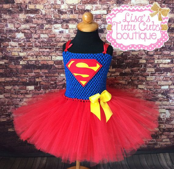 Superman inspired tutu dress with accent bow.