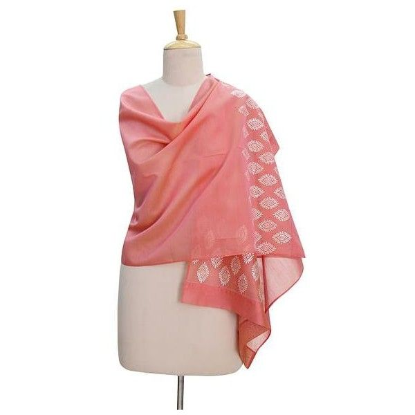 NOVICA Chanderi Shawl in Cotton Silk with Silver Hand Block Print (480 DKK) ❤ liked on Polyvore featuring accessories, scarves, shawl, clothing & accessories, pink, silver scarves, novica, pink shawl, silver shawl and pink scarves
