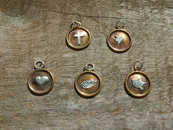 Tiny Brass Charms with Sterling Silver Dove by SilverLeafByDana, $7.00
