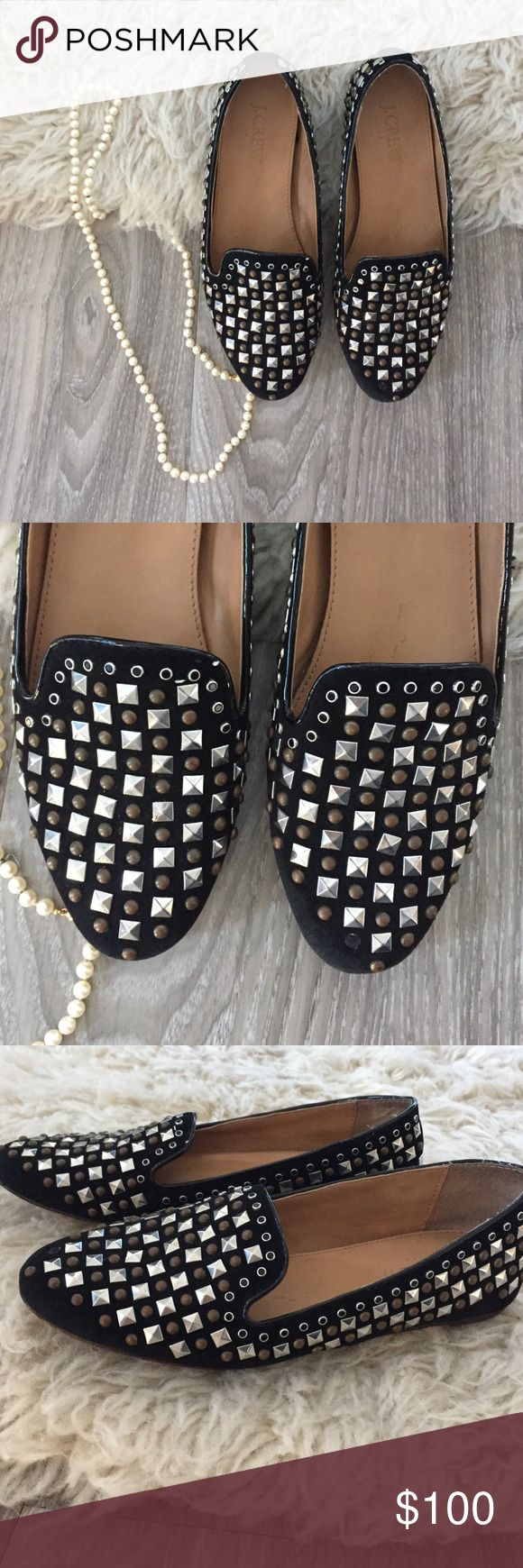 J. Crew Collection Darby Studded Loafers The soldout J. Crew Collection Darby Studded Loafers! In excellent used condition, no wear on tops or sides but wear on the soles. Crafted in medal-and-crystal studded suede. J. Crew Shoes Flats & Loafers
