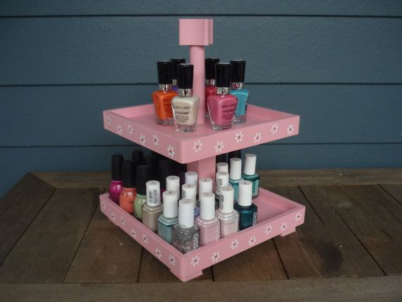 Nail Polish   Storage   Organizer   2 Tier   Table Top   Reclaimed Wood    Display   Polka Dots (45 Bottles)