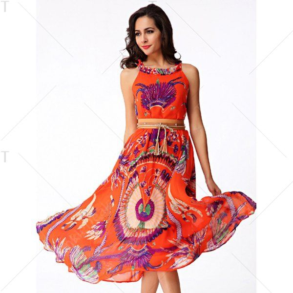 Flowing Printed Chiffon African Maxi Dress - ORANGE RED M