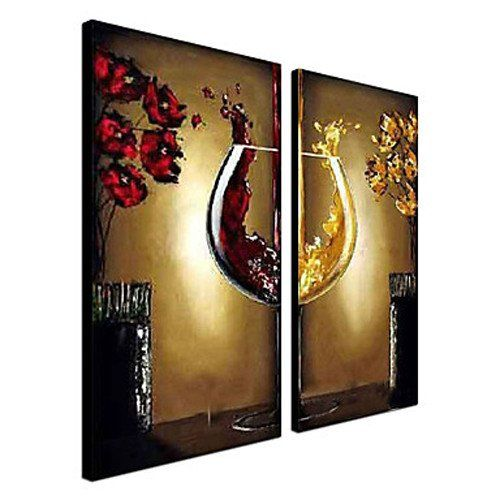 Unitary™ Modern Stretched 100% Hand-painted Still Life Wine Glass Art Gallery Decoration Oil Painting 2 Pieces on Canvas Frame Included Unitary,http://www.amazon.com/dp/B00HRN0Z6C/ref=cm_sw_r_pi_dp_wNFCtb1TS0FPRQXS