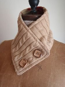 Neck warmer from a recycled sweater. I think this is lined. I might try that.