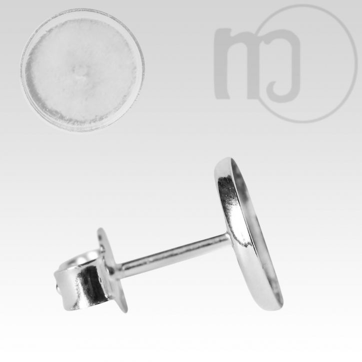 Ohrstecker Rohling 925 Sterling Silber mit Rand Cabochon Fassung 6mm