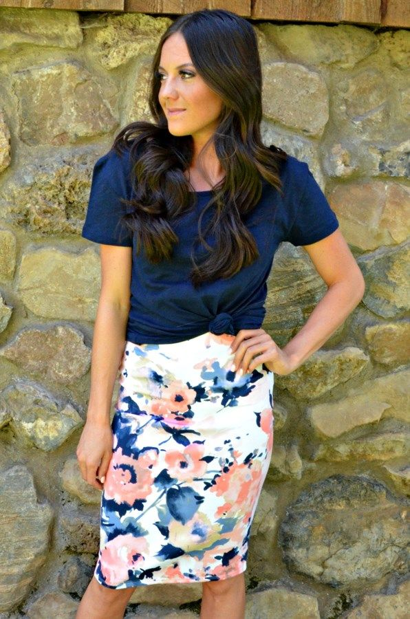 Get ready to fall in love! This beautiful stretch skirt is soon to be your favorite wardrobe item. Super soft and stretchy and looks great on all body types! Watercolor pattern with fun colors. Fits true to size.