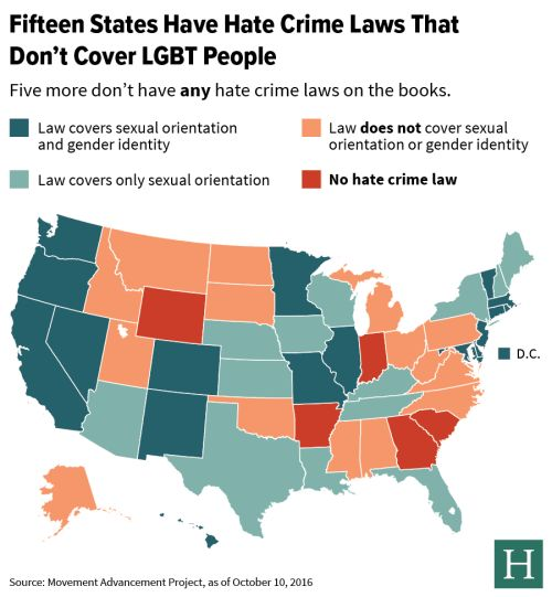 - Fifteen US states have hate crime laws that dont cover LGBT...
