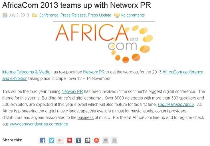 #AfricaCom 2013 teams up with #Networx PR - #shesthegeek