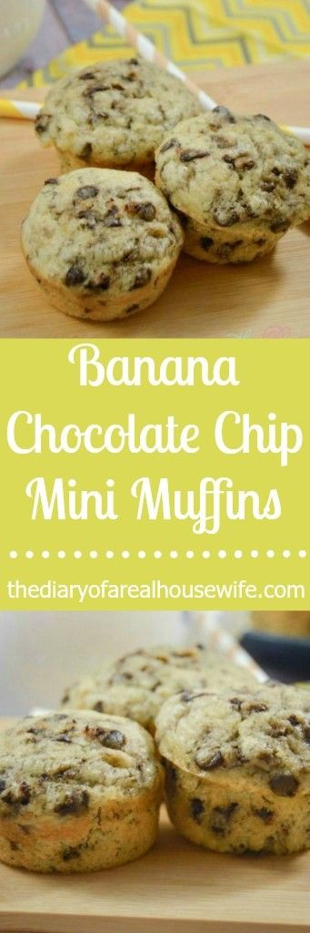 Banana Chocolate Chip Mini Muffins. Easy breakfast or snack! I make these for my kids and they just love them.