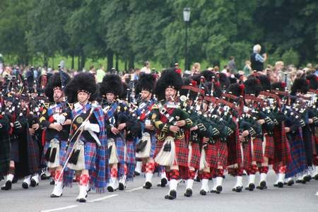 Massed Pipes and Drums at the Edinburgh International Festival, Edinburgh, Scotland.