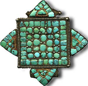 Tibetan Gau (prayer box) with turquoise and silver.