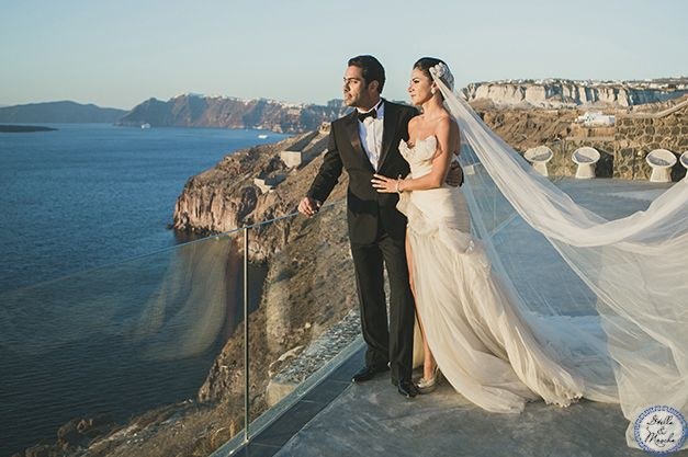 Outdoor Wedding Venue | Santorini Wedding by Stella and Moscha - Exclusive Greek Island Wedding | Photo by Anna Roussos | http://www.stellaandmoscha.com/wedding-photos/private-villa-wedding/