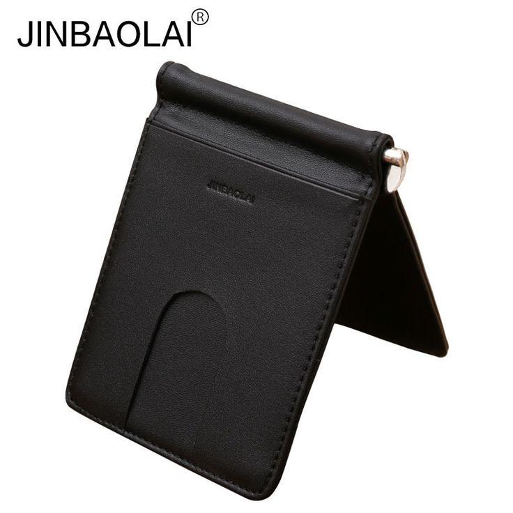 JINBAOLAI Piel Genuina Simple Hombres Black Money clip de tarjetas de crédito ranuras Bits Moda Cartera Monedero