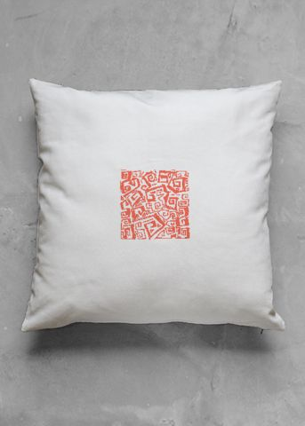 Little ocean - red - luxury pillow design by Charles Bridge 7x - buy in my VIDA e-shop    #luxurious#pillow#interior#interiordecor#art#artprint#fabricprint#sofa#spring#ocean#oceaninspiration#waves#water#waterart#artist