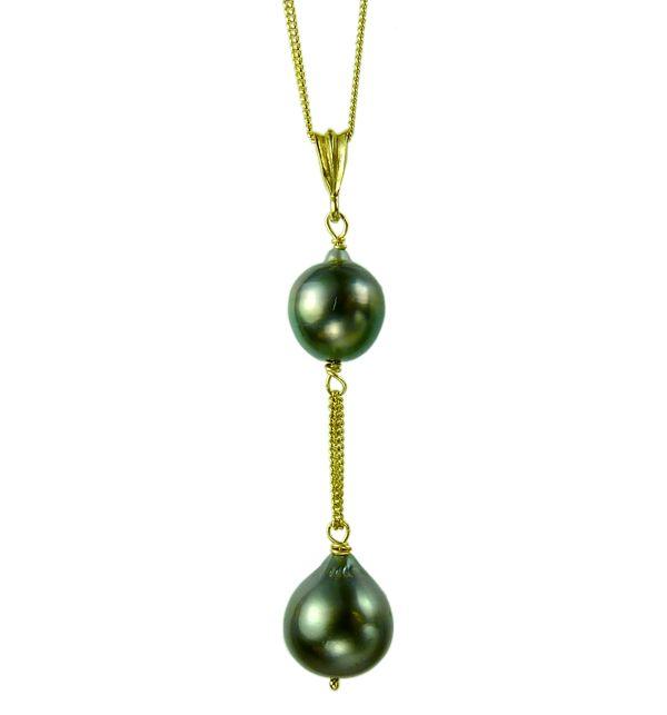 Double Tahitian Pearl Pendant