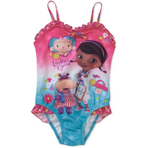 Disney Doc Mcstuffins Baby Toddler Girl Bow Swimsuit Baby