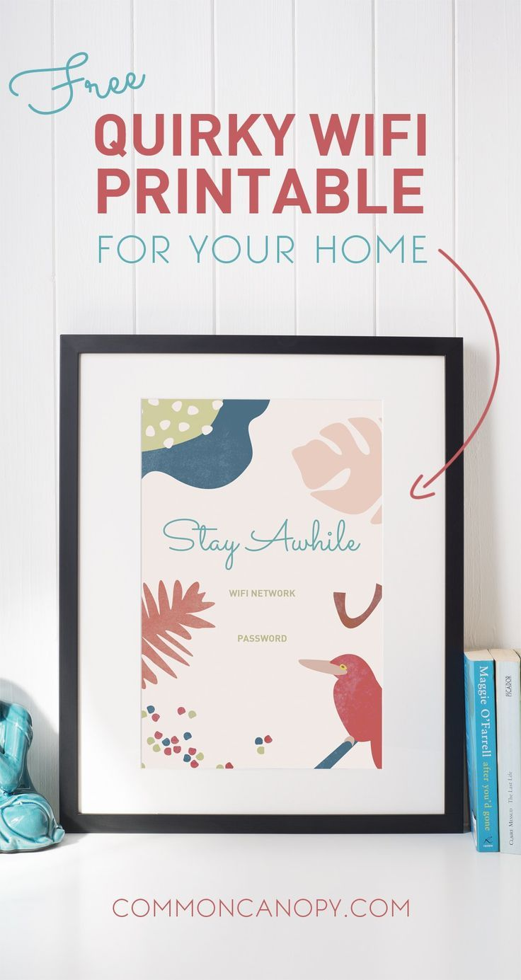 Free Wifi Password Printable | CommonCanopy.com: This free, tropical wifi password printable is so quirky and cute! It's a 5x7, so it fits perfectly in a standard frame. Definitely putting this in my home!