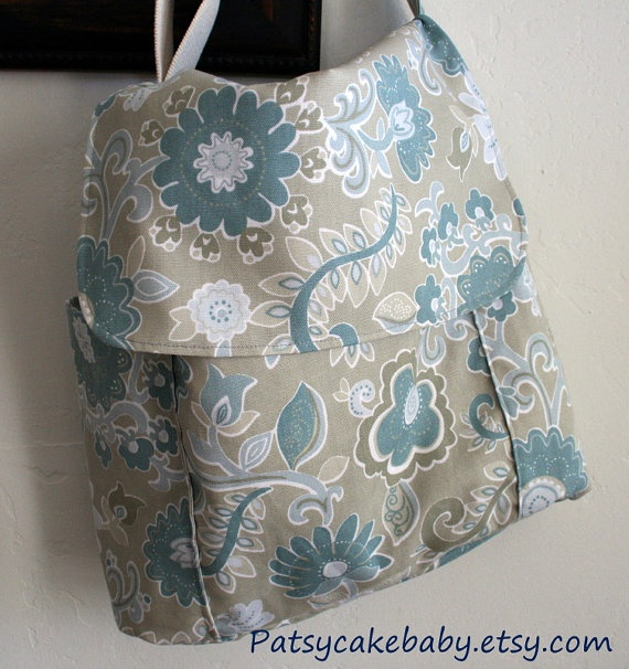 Multi-purpose purse/diaper bag and eco-freindly! Whisper Blue Bag Messenger Style Side pocket Eco by PatsycakeBaby, $32.00