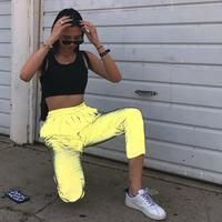 Flash reflective jogger pants women casual solid street wear trousers