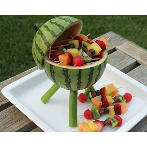 """Creativity turned this watermelon to a mini """"fruit-que"""" stand! pic via @nosuprisesevents #watermelon #creative #inspiration #diy #yummy #fruits"""