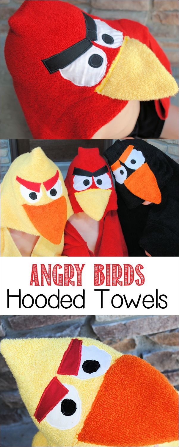 18 Amazing DIY Christmas Gifts for Kids including a tutorial for this Angry Birds Hooded Towel.