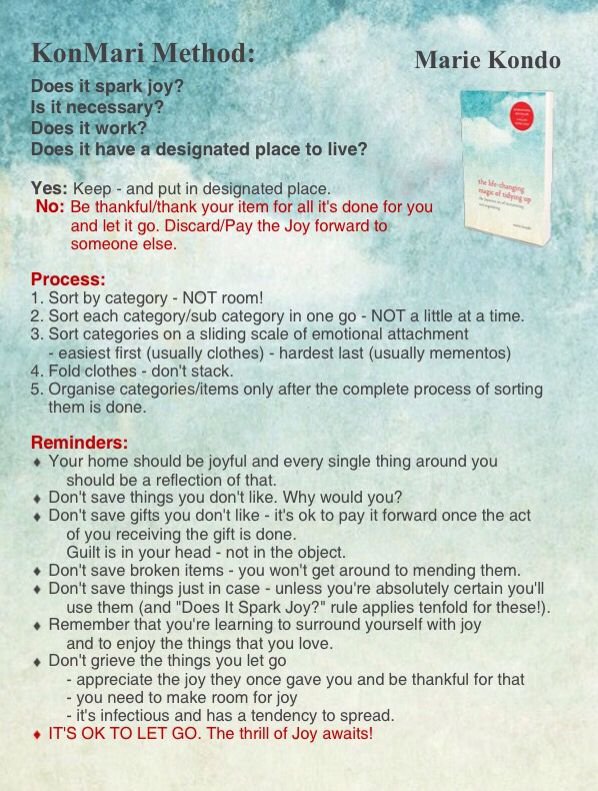 "Konmari Method Infographic - Marie Kondo - ""The Life-Changing Magic of Tidying Up: The Japanese Art of Decluttering and Organizing"""