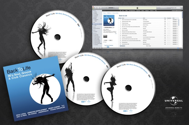 """""""Back To Life""""  Universal records 3 CD Box set of '90's Soul, Groove and Club Classics, including the likes ofSoul II Soul, Arrested Development etc.. The design includes inlay/booklet, onbodies and iTunes downloadable booklet."""