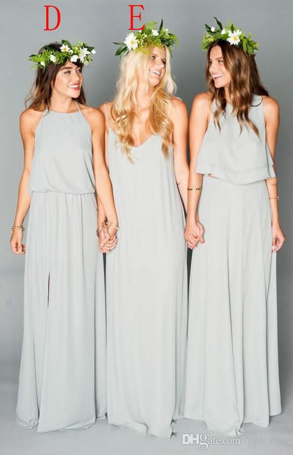 2016 New Cheap Two Pieces Off Shoulder Chiffon Long Bridesmaid Dresses Bohemian Summer Beach Bridesmaid Dress Custom Maid of Honor Gowns Online with $79.4/Piece on Yes_mrs's Store | DHgate.com