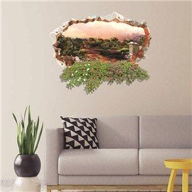 Wonderful Wall Hole View Beautiful Countryside Scenery Removable 3D Wall Sticker