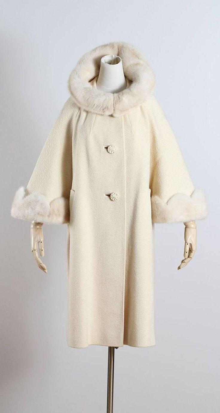 Vintage 1950s Youthcraft Ivory Wool Mink Fur Swing Coat image