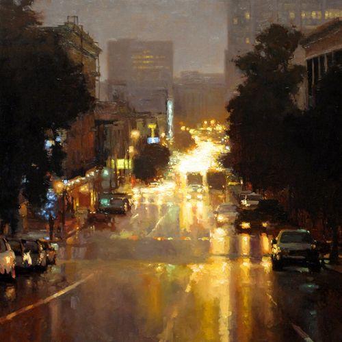 Jeremy Mann  ||  Lights In Rain Larkin St