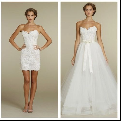 White Strapless Sweetheart Neckline Wedding Dress With Ball Gown Long For The Ceremony And Short Reception