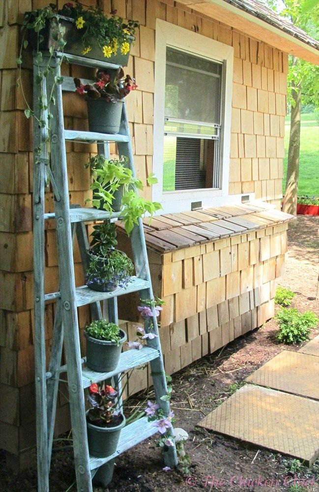 The Chicken Chick: Recycled Ladder turned Planter. Total cost $2.97 plus planting material.