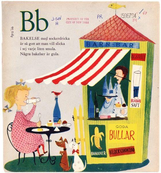 B - Vintage STIG LINDBERG Circus illustration Swedish children's book page Letter 1953 - Free Worldwide Shipping