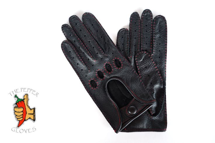 Men's black deerskin leather driving gloves size 7.5 - VW GTI STYLE - red sewing #ThePepperGloves #DrivingGloves